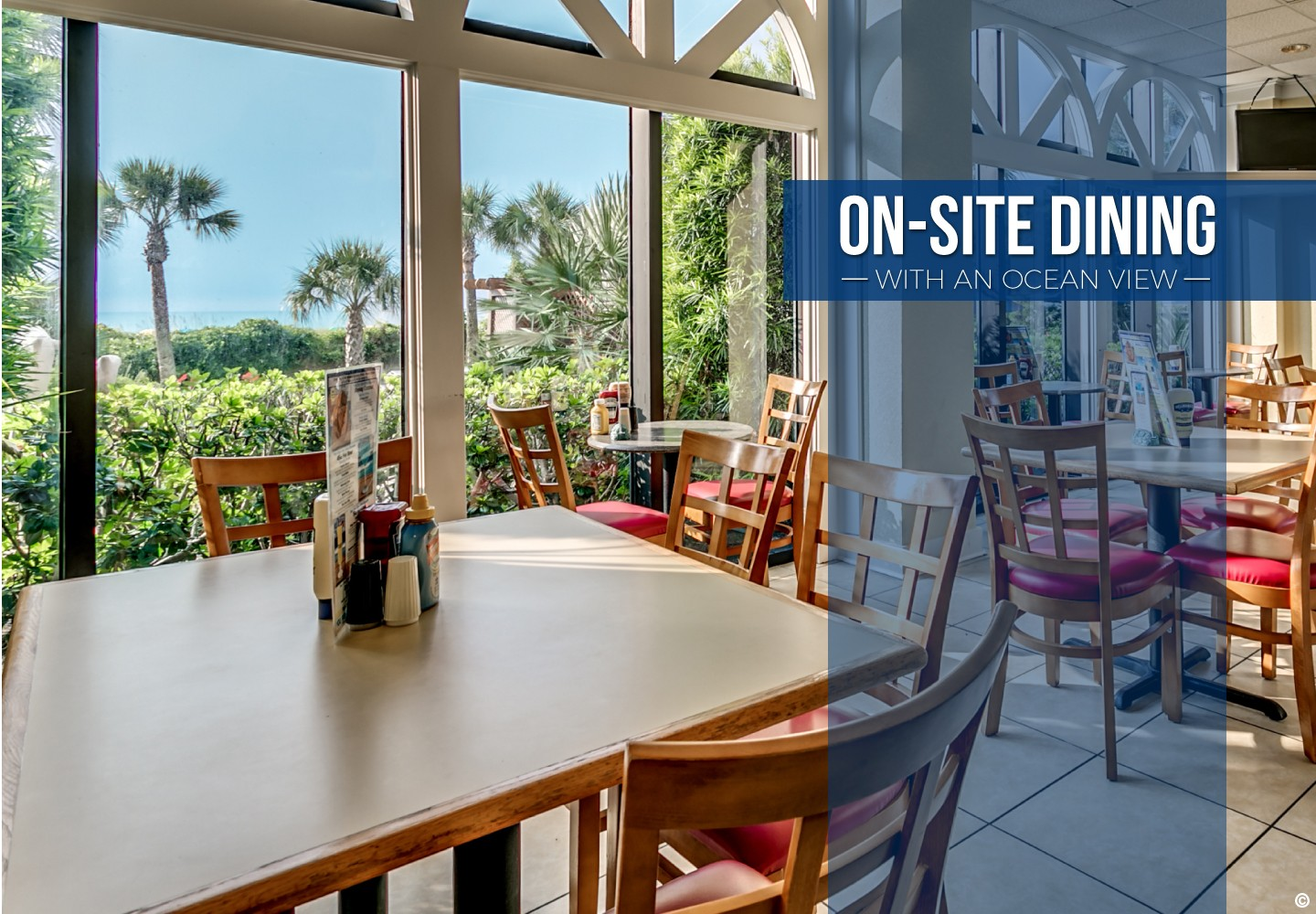 on-site dining with an ocean view