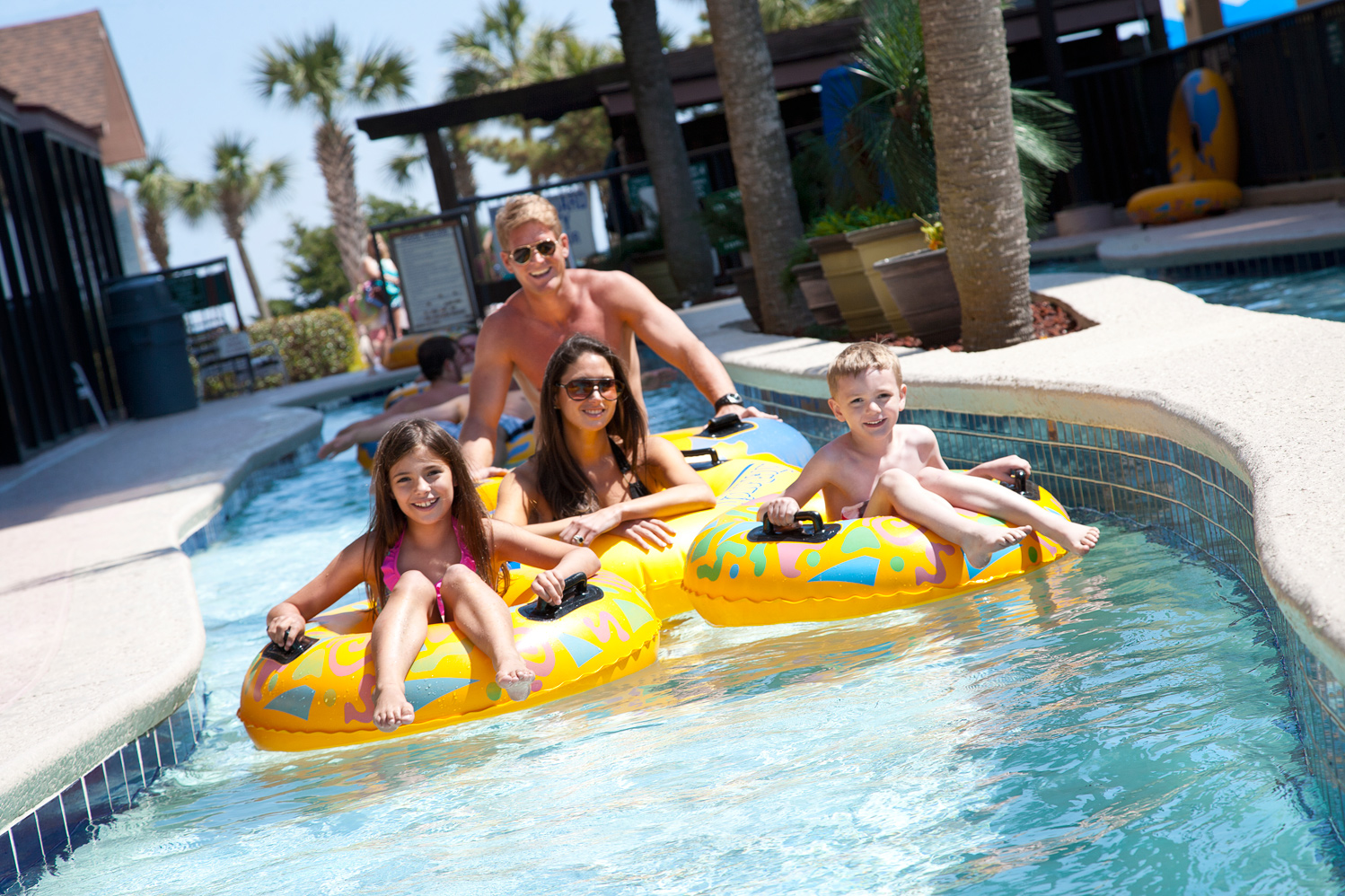 Beach Colony Resort lazy river ride in Myrtle Beach, SC.